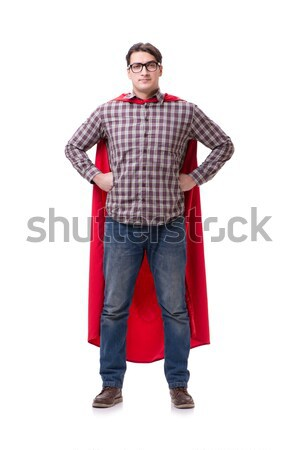 The super hero wearing red cloak on white Stock photo © Elnur
