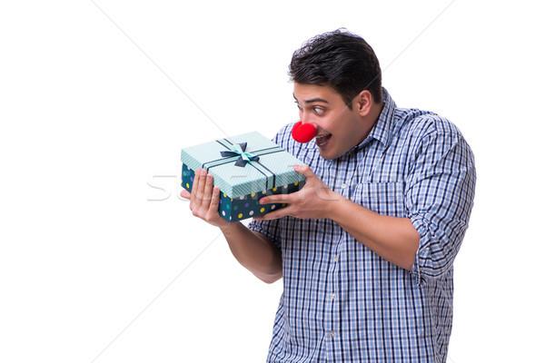 Homem vermelho nariz engraçado bolsa de compras Foto stock © Elnur
