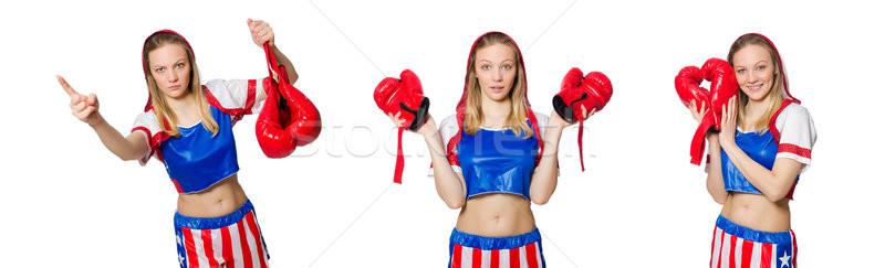 Femenino boxeador aislado blanco deporte salud Foto stock © Elnur