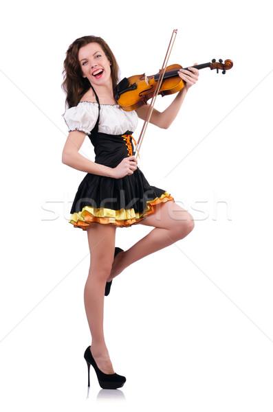 Fiatal nő játszik hegedű fehér nő kéz Stock fotó © Elnur