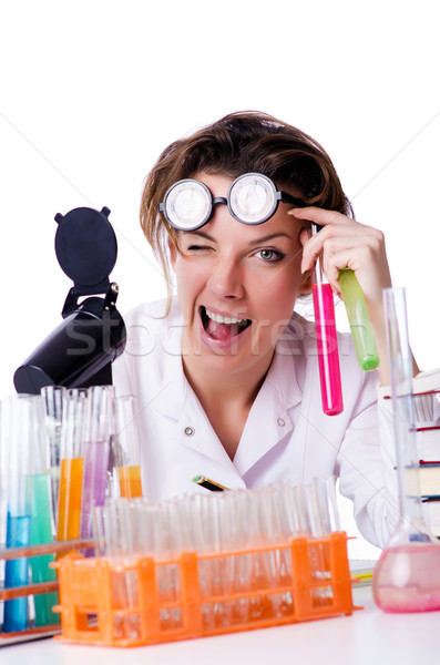 Crazy woman chemist in lab Stock photo © Elnur