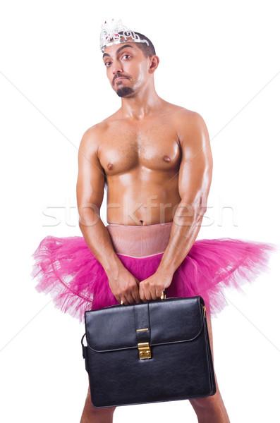 Man in tutu with briefcase on white Stock photo © Elnur