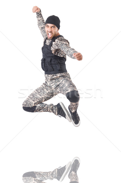 Soldier in camouflage isolated on white Stock photo © Elnur