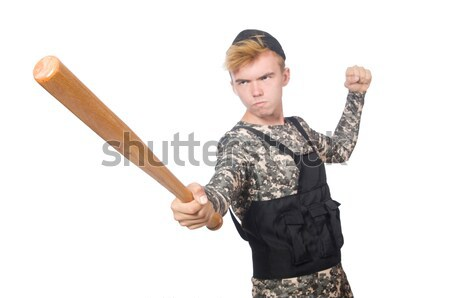 Violent homme batte de baseball blanche visage fond Photo stock © Elnur
