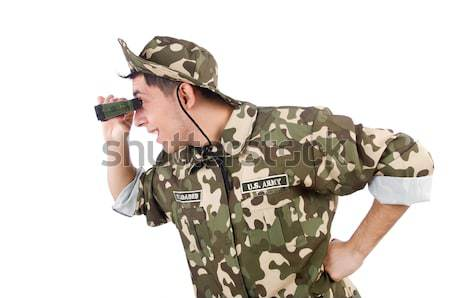 Funny soldier isolated on the white Stock photo © Elnur