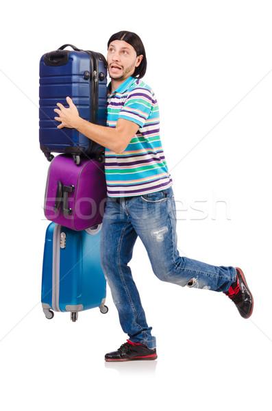Viaje vacaciones equipaje blanco feliz fondo Foto stock © Elnur