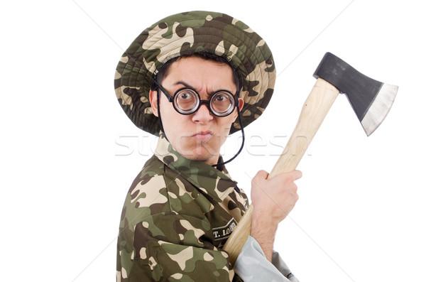 Engraçado soldado machado isolado branco homem Foto stock © Elnur