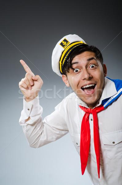 面白い 船乗り 着用 帽子 幸せ 海 ストックフォト © Elnur