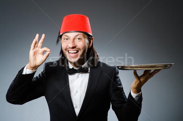 Pincér visel hagyományos török kalap férfi Stock fotó © Elnur