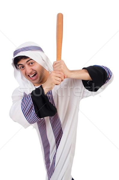 Árabe homem taco de beisebol isolado branco negócio Foto stock © Elnur