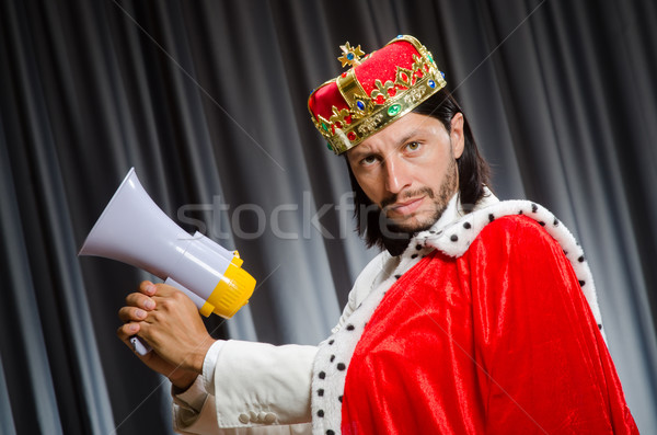 King with loudspeaker in funny concept Stock photo © Elnur
