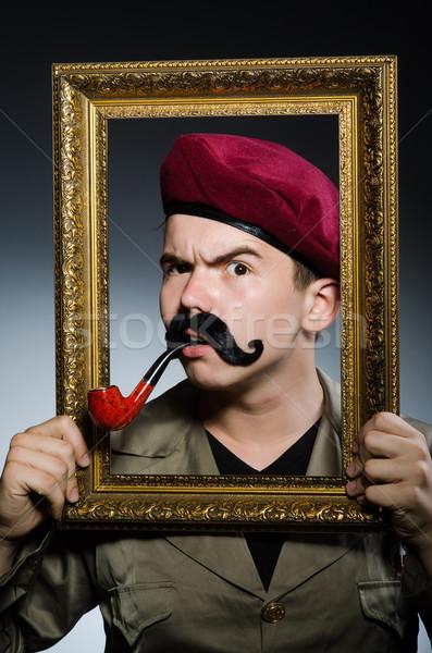 Vicces katona katonaság férfi keret zöld Stock fotó © Elnur
