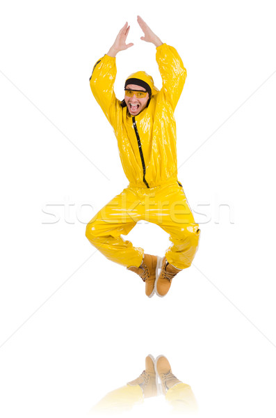 Moderne danser Geel jurk geïsoleerd witte Stockfoto © Elnur