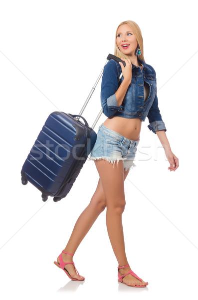 Foto stock: Mulher · longo · viajar · isolado · branco · menina