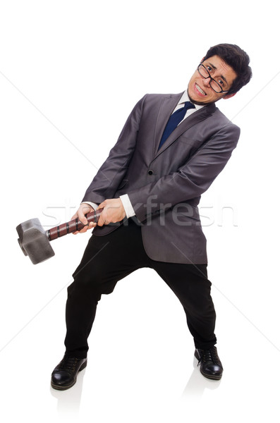 Business man holding hammer isolated on white Stock photo © Elnur