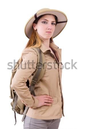 Hombre safari sombrero caza naturaleza funny Foto stock © Elnur