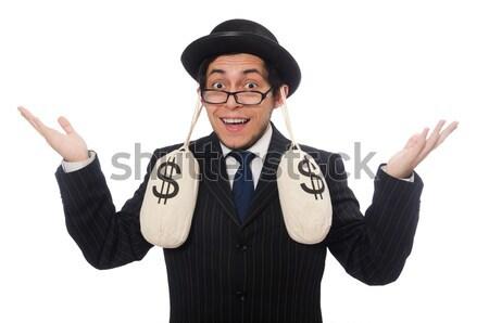смешные джентльмен полосатый костюм изолированный белый Сток-фото © Elnur