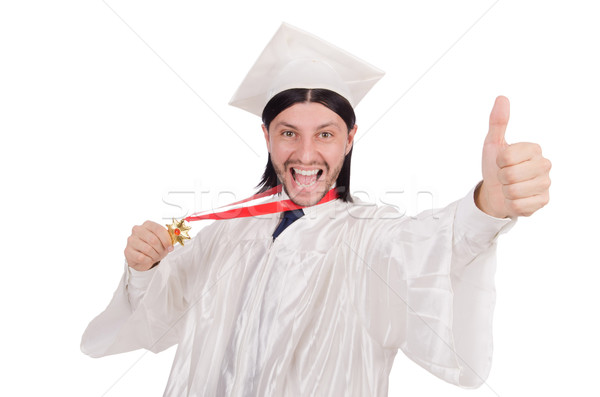Genç öğrenci yalıtılmış beyaz gülümseme adam Stok fotoğraf © Elnur