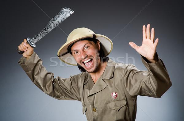 Grappig safari jager natuur bril leuk Stockfoto © Elnur