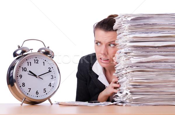 Kobieta kobieta interesu stres brakujący terminy zegar Zdjęcia stock © Elnur