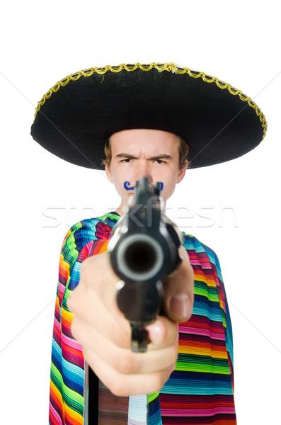 Funny jóvenes mexicano arma aislado blanco Foto stock © Elnur