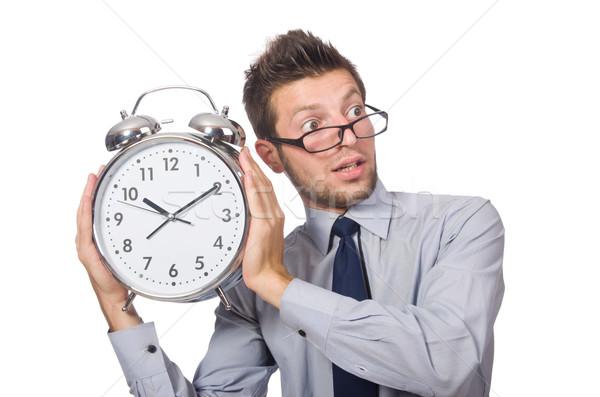 Uomo clock soddisfare scadenza isolato uomo bianco Foto d'archivio © Elnur
