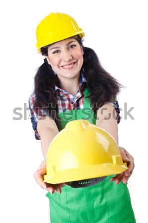 Stock fotó: Nő · ipari · izolált · fehér · üzlet · épület