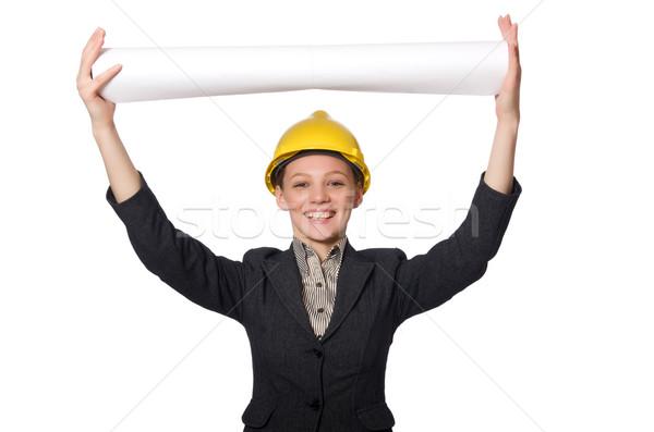 Kobieta inżynier kart biuro budynku pracy Zdjęcia stock © Elnur