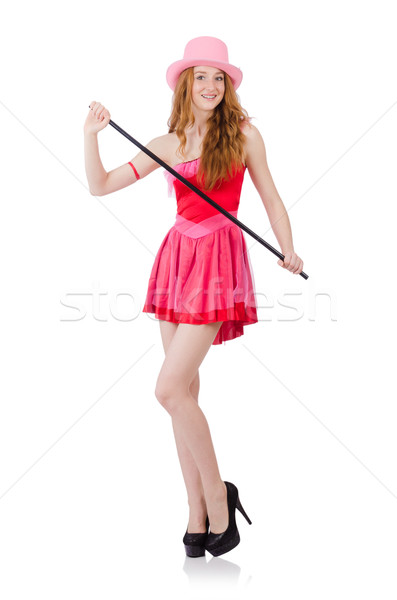 Stock photo: Pretty young wizard in mini pink dress isolated on white