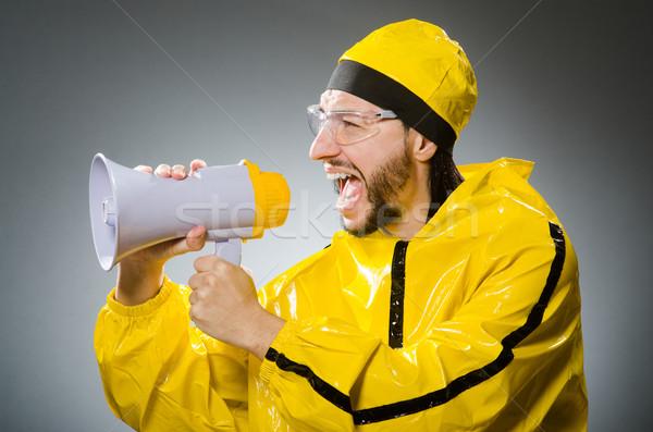 Homme jaune costume haut-parleur verres orateur Photo stock © Elnur