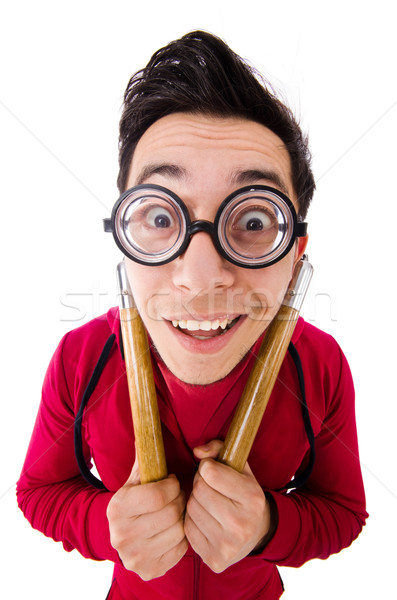 Funny sportsman with nunchuks isolated on white Stock photo © Elnur