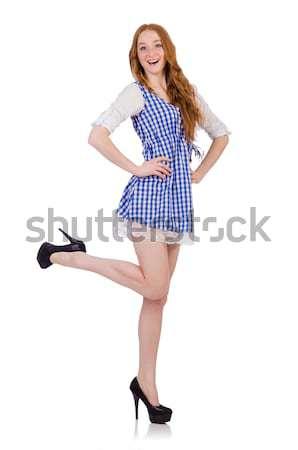 Fiatal flörtöl diák lány izolált fehér Stock fotó © Elnur