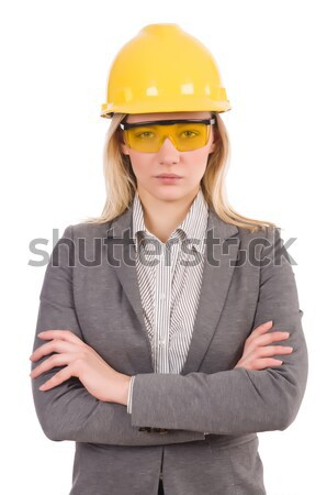 Female engineer in helmet isolated on white Stock photo © Elnur