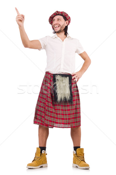 Stock photo: Man in scottish skirt isolated on white