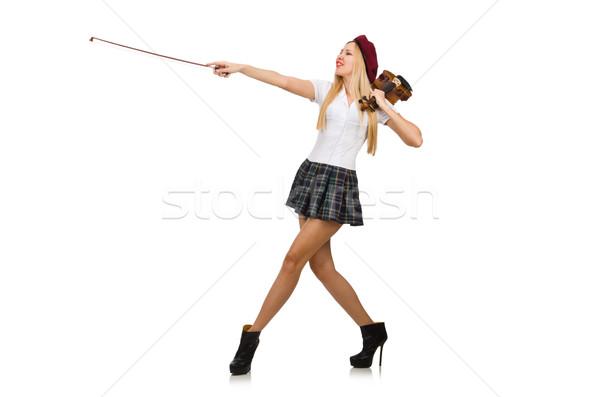 Stock fotó: Nő · játszik · hegedű · izolált · fehér · háttér