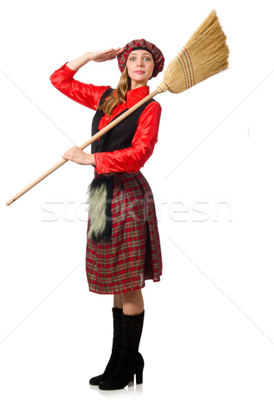 Funny woman in scottish clothing with broom Stock photo © Elnur