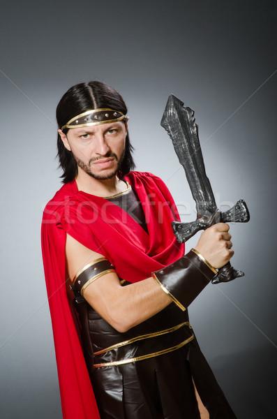 Római harcos kard férfi fehér stúdió Stock fotó © Elnur