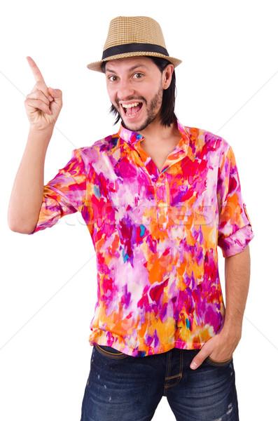 Stockfoto: Man · roze · shirt · hoed · geïsoleerd · blanke · man