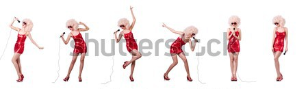 女性 赤いドレス 孤立した 白 少女 セクシー ストックフォト © Elnur