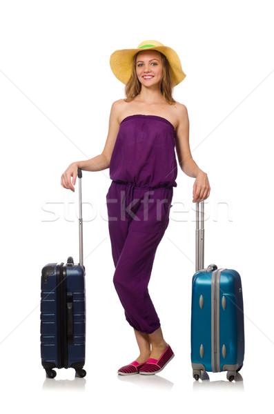 Donna valigia isolato bianco ragazza felice Foto d'archivio © Elnur