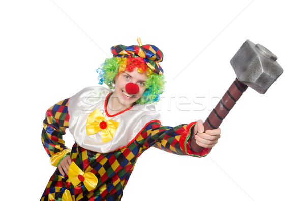 Clown with hammer isolated on white Stock photo © Elnur