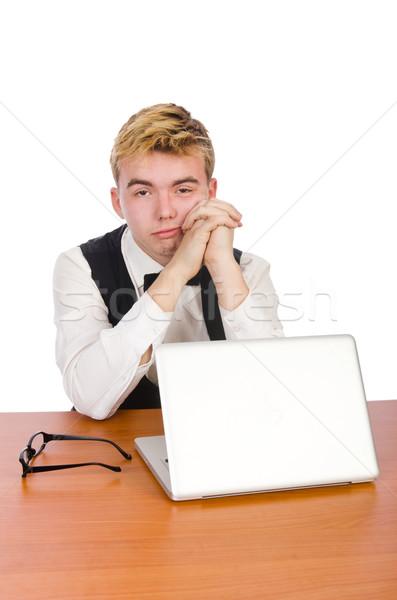 Smart student vergadering laptop geïsoleerd witte Stockfoto © Elnur