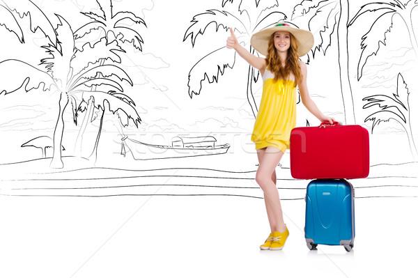 Jonge vrouw tropisch eiland reizen strand gelukkig Stockfoto © Elnur