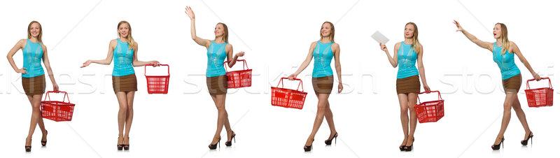 Fotoğraf kadın alışveriş sepeti mutlu alışveriş Stok fotoğraf © Elnur