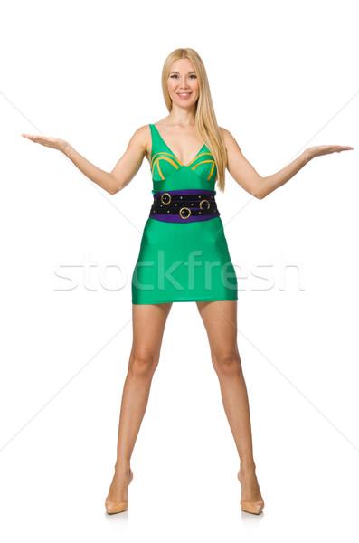 Stock fotó: Magas · modell · mini · zöld · ruha · izolált