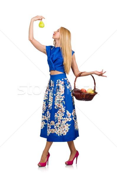 Сток-фото: женщину · фрукты · корзины · изолированный · белый