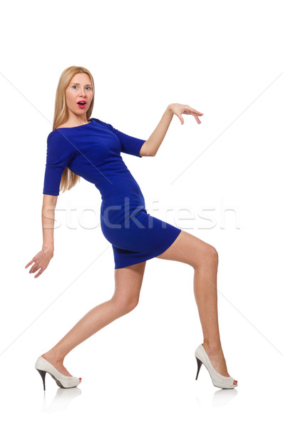 Pretty caucasian girl in blue dress isolated on white Stock photo © Elnur