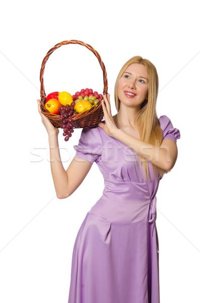 Сток-фото: женщину · корзины · плодов · изолированный · белый