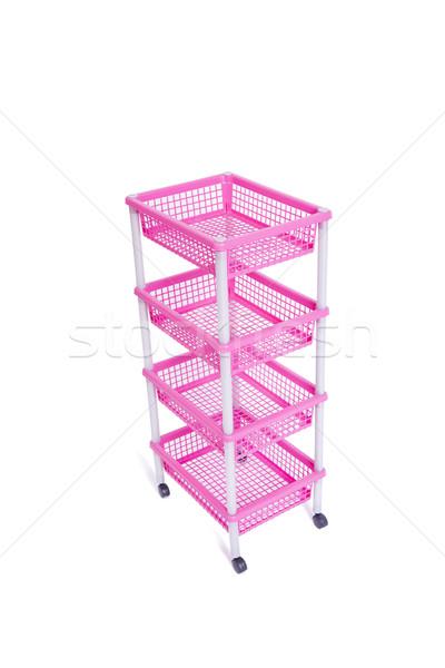 Pink bin rack shelf with wheels isolated on white Stock photo © Elnur