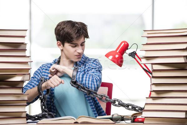 Fiatalember érettségi vizsgák főiskola könyvek iskola Stock fotó © Elnur